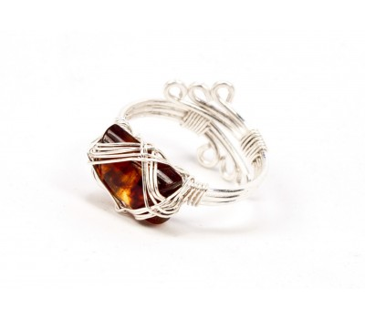 Amber Rectangle Ring