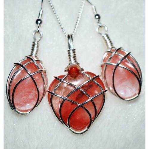 Cherry Quartz in Silver