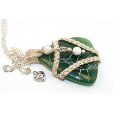Green Agate in Silver