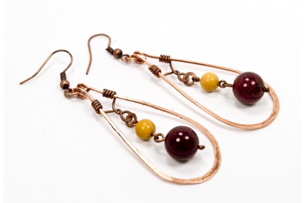 Mookaite Earrings in Copper