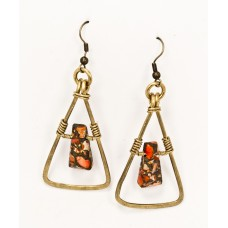 Ocean Jasper Earrings in Brass