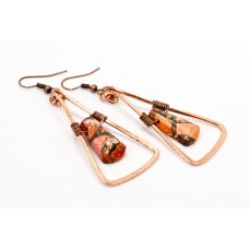 Ocean Jasper Earrings in Copper