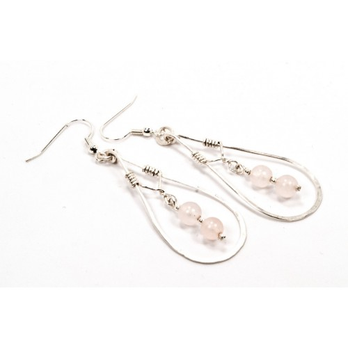 Rose Quartz Earrings in Silver